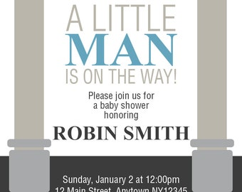 "Custom Boy Baby Shower Invite - ""Little Man"""