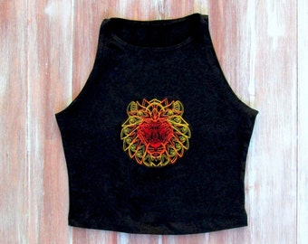 Mandala Lion Crop Top-Yoga Crop Top-Workout Crop Top-Lion-American Apparel