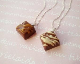 BFF chocolare necklace, minature food jewelry, food necklace, food keychain, friendship pendant, best friend, bff keychain, miniatures