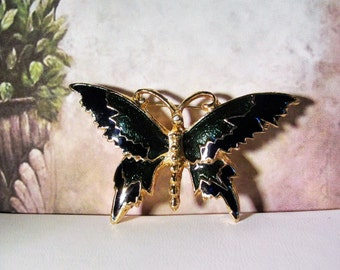 1970s Metallic Emerald Green and Black Gold Tone Butterfly Brooch, Butterfly Brooch, Butterfly Pin, Green Butterfly Brooch