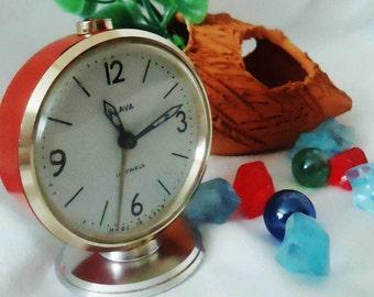 Vintage Alarm Clock ,Soviet Clock, Russian Clock , Mechanical Clock , Orange Round Clock , Slava,Vintage Russian Alarm Clock Soviet SLAVA