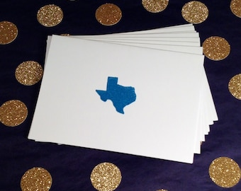 Texas/Lone Star State Note Cards and Envelopes - Blue and White - Set of 8