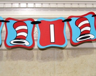 Dr Seuss One I Am Banner, Dr Seuss Theme banner, one I am, I am one, 1st birthday, birthday banner,Cat in the Hat banner