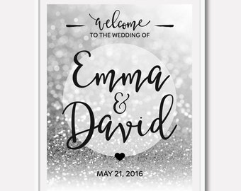 Silver Wedding Reception Sign Printable Wedding Welcome Sign Silver Wedding Decor Wedding Printable Sign Wedding Ceremony Sign 16x20 24x36