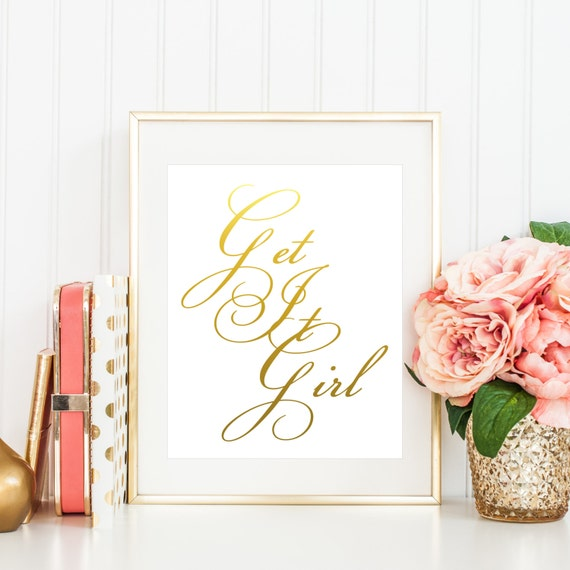 Dorm Room Wall Decor Etsy : Get it girl girls dorm room decor printable wall art