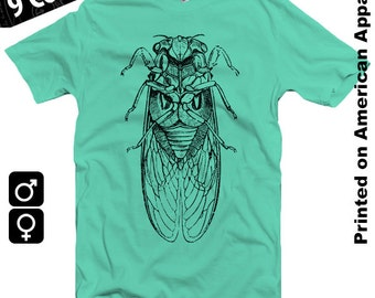 Cicada American Apparel T-shirt S-XXL Men/Women Vintage Entomology Engraving, Insect, Enlightenment, Science, Cool Gift