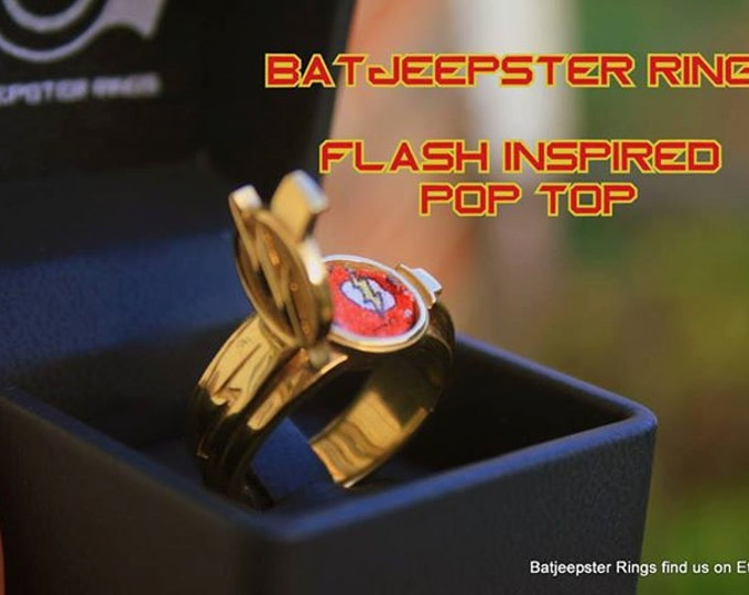 Custom POP Top Flash / Arrow T.V. Inspired  Flash Ring Red Enameled Version