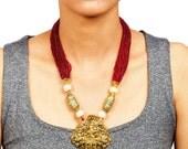 Temple Jewelry - Beautiful Ganesh Pendant Necklace Set
