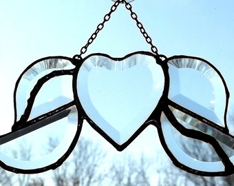 Stained Glass Clear Beveled Heart With Wings Soldered Art Sun-Catcher By Nickole Schmidt For WimsicalGlassography
