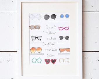 Sunglasses wall art print, sunnies wall decor, nursery wall art, 8 x 10 print, watercolor print, watercolor painting, office decor for women