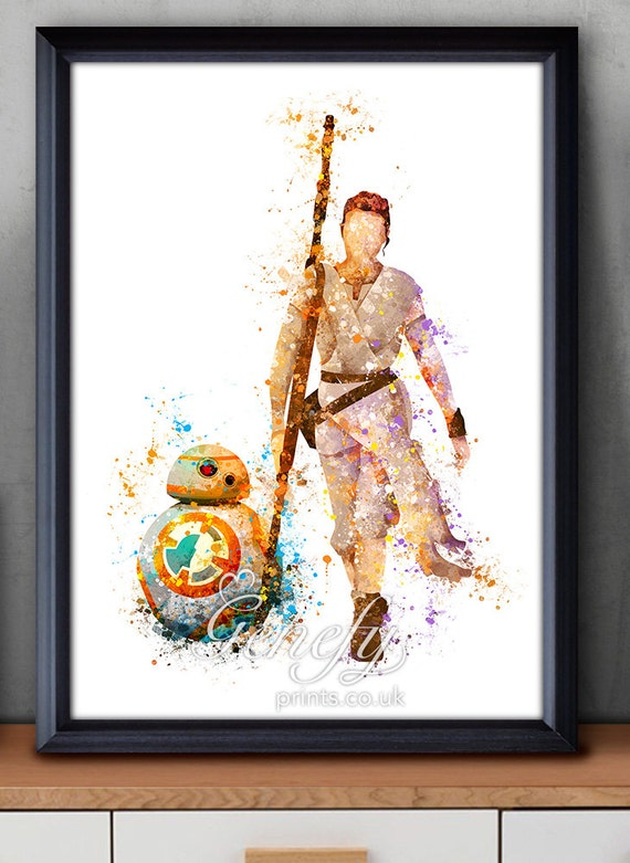 Star Wars The Force Awakens Rey Bb 8 Watercolor Art Silhouette