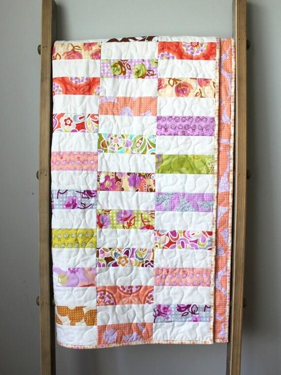 Modern baby girl quilt girl nursery bedding lavender pink - Modern baby girl crib bedding ...