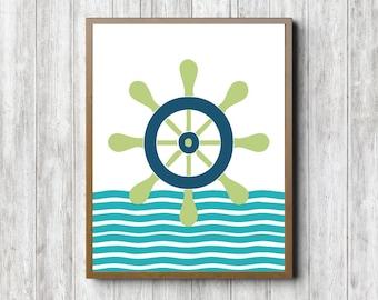 Ships Steer /Helm Art Printable - Nursery /Boys Room Nautical Wall Art - Ships Steering Wheel - Lime Green & Blue Art Poster - Decor Poster
