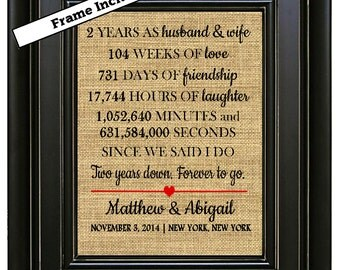 framed 2nd wedding anniversary print 2nd anniversary gift2 year anniversary gift