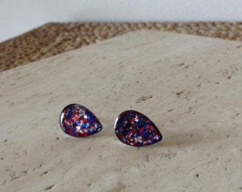 Red White Silver and Blue Glitter Tear Rain Drop  stud earrings. Very Unique and very stunning.