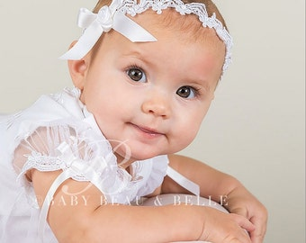White Lace Headband 'Joli White', Christening Headband