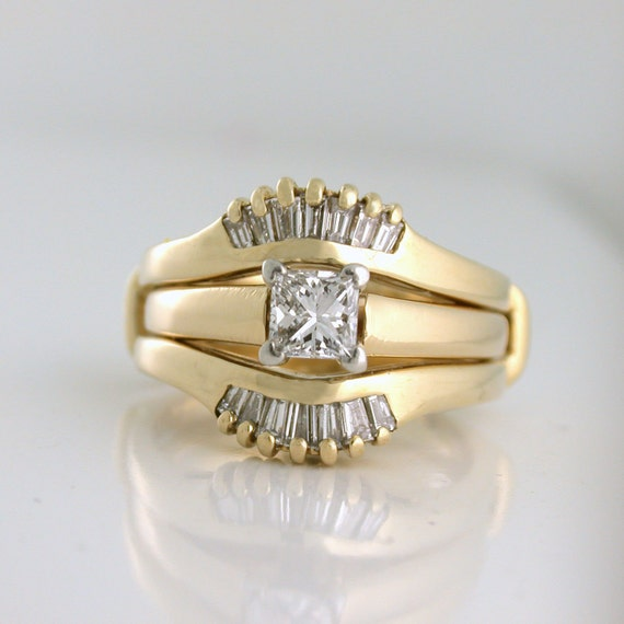Wedding Set 1.10tcw Princess Cut with Baguette Sunrise Jacket, 14k yellow gold - Inquire about one of the rings!
