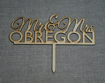 Cake Topper *  cake toppers *  Mr and Mrs cake topper * custom name cake topper * custom last name cake topper * wedding cake topper