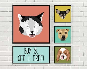 SALE!! | Buy three, Get one Free | Custom Pet Portrait | Digital File | Print at Home | Pet Gift | Made to Order | Dog | Cat |