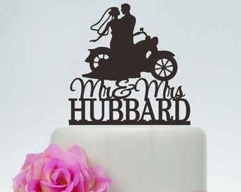 Mr And Mrs Wedding Cake Topper With Last Name,Bride And Groom On motorcycle Silhouette,Custom Cake Topper,Couple on Moto Cake Topper C125