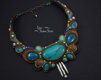 "Bead Embroidered Necklace ""Naiad"" Beadwork Collier Embroidered jewelry Handmade  Seed Bead Turquoise Jasper"