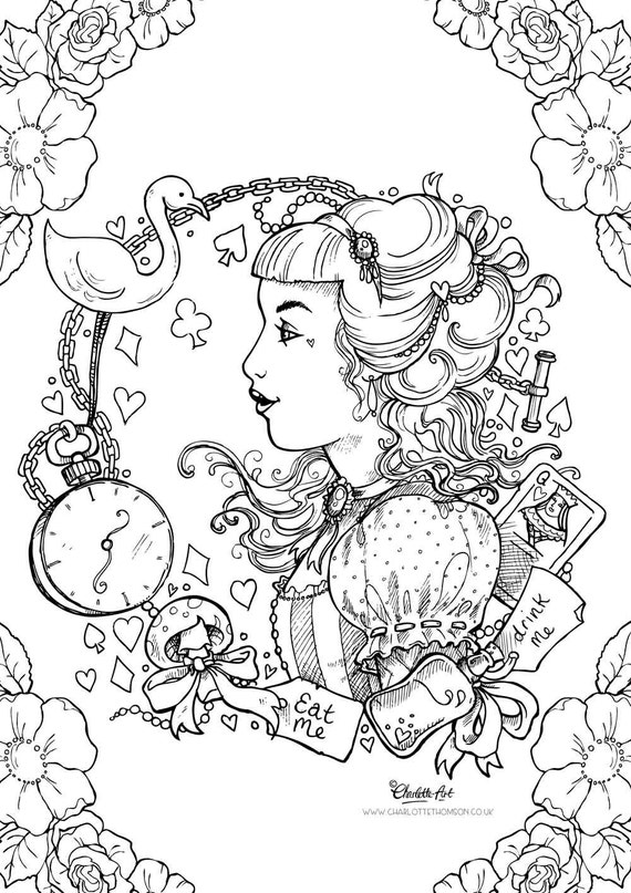 Adult Colouring Page Alice in Wonderland Gothic Lolita Kawaii