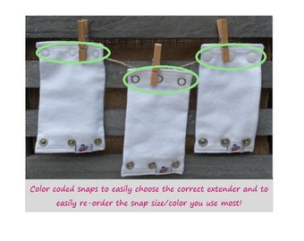 Bodysuit Extender, 3 pack of 3 size snaps, CPSC Compliant, Cloth diapers, Baby Gift, 3 White Extenders, Tall babies
