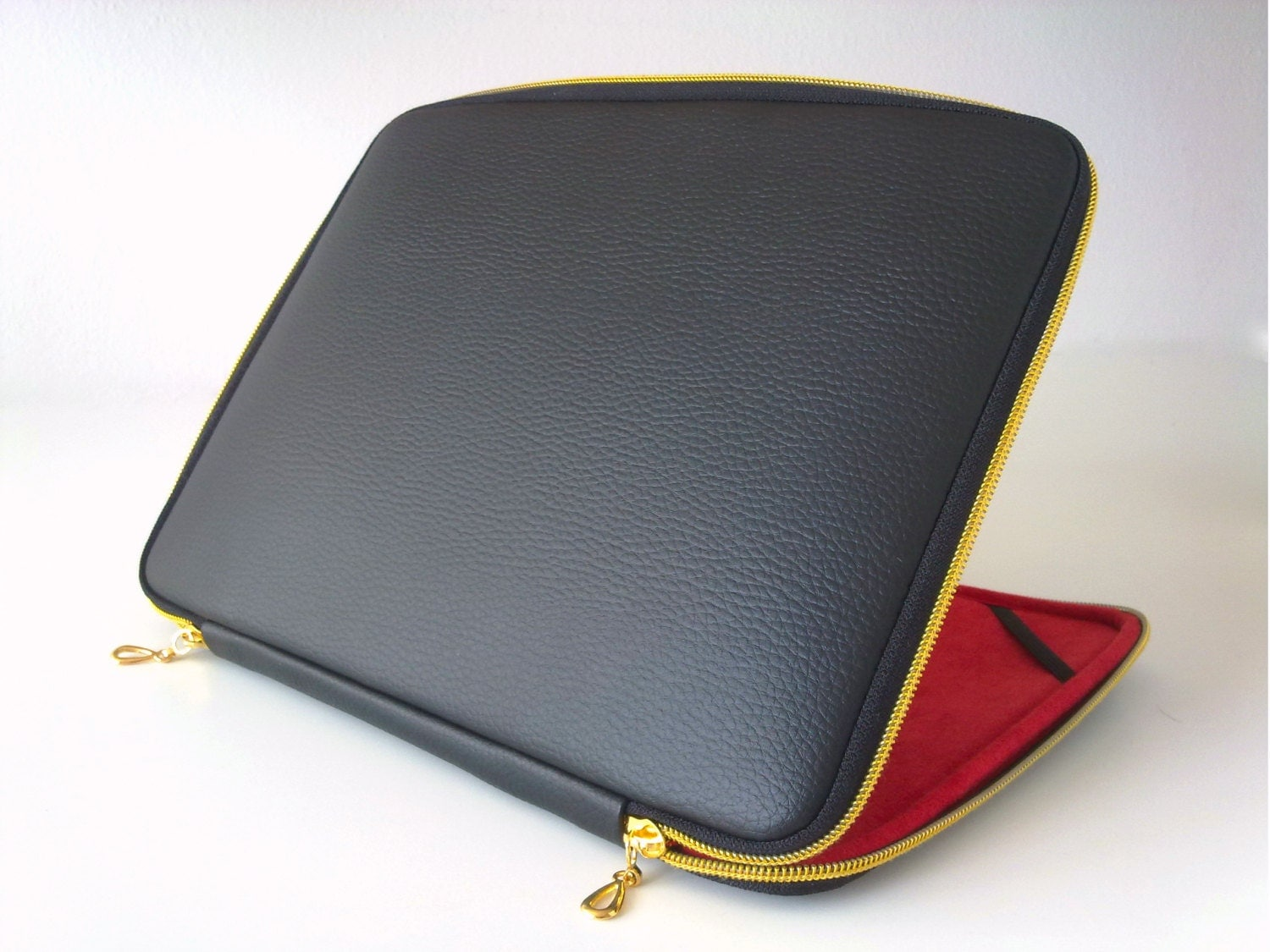 Black leather laptop caseleather caselaptop sleeveleather for Housse ordinateur 14 pouces originale