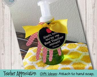 Teacher Appreciation Gift Tag Printable - TeachAPP001 - Teacher Gift Tag, Back to School, Hands down the Best Teacher