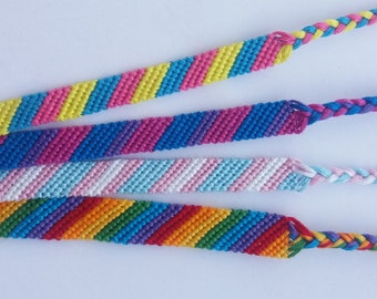 Gay pride flag, LGBT, Transgender, Bisexual, Pansexual friendship bracelet, Lesbian, Bi, Trans, Pan, Rainbow macrame bracelet, Hippie, boho