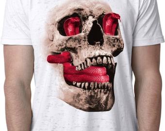 Men's Halloween Shirt Cobra Skull Burnout Tee T-Shirt COBRASKULL-NL6110