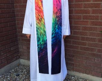 Silky Rainbow Clergy Stole, Rainbow, Priest Stole, Clergy Stole, All Season Stole, Rainbow Clergy Stole