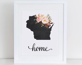 Wisconsin Art Print, Wisconsin Printable Art Print, Instant Download, Wisconsin Wall Art, 8x10 Art Print, Wisconsin Nursery Art Print