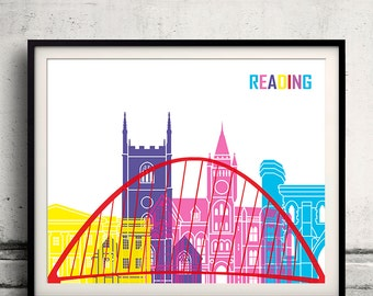 Reading pop art skyline 8x10 in. to 12x16 in. Fine Art Print Glicee Poster Gift Illustration Pop Art Colorful Landmarks - SKU 1083