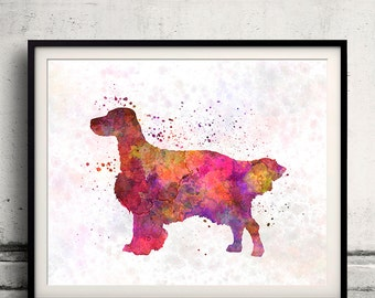 English Setter 01 in watercolor - Fine Art Print Poster Decor Home Watercolor Illustration Dog - SKU 1494