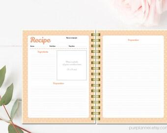 Printable recipe cards, personalized recipe binder kit, letter size recipe book, recipe organizer, cookbook template, blank recipe book