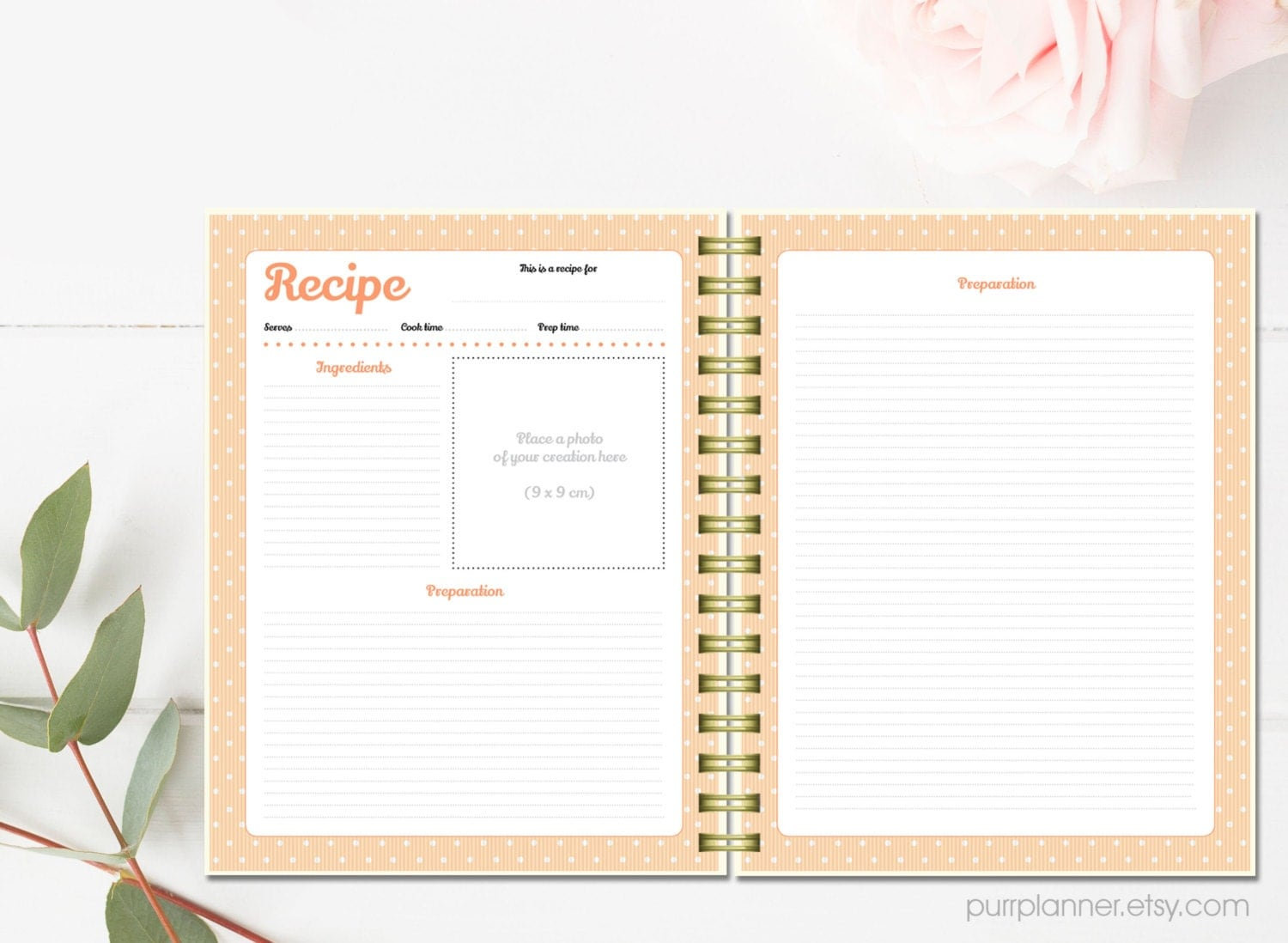 printable recipe cards personalized recipe binder kit letter size recipe book recipe. Black Bedroom Furniture Sets. Home Design Ideas