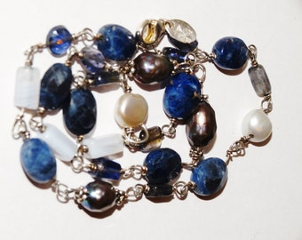 """Silpada Sterling Silver Stamped Lapis, White Pearl 17"""" Necklace."""