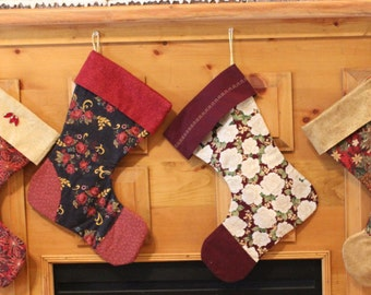 Christmas stockings,Christmas colors, golds, reds, loops for hanging