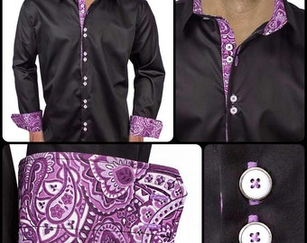 Black with Purple Paisley Men's Designer Dress Shirt - Made To Order in USA