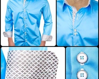 Light Blue with Grey Metallic Men's Designer Dress Shirt - Made To Order in USA
