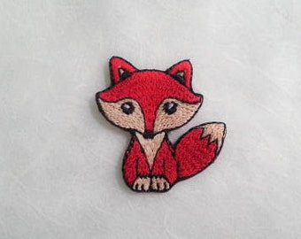 Red Fox Iron On Patch (S) -  Red Fox cute Applique Embroidered Iron on Patch Size 3x3.8 cm