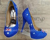 Australia flag custom glitter shoes (Heel or wedge)-Wedding shoes, prom shoes, custom glitter shoes made to order
