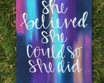 She Believed She Could So She Did Canvas Quote Painting Wall Decor Home Decor Calligraphy DIY Handmade Gift Acylic Art Painting