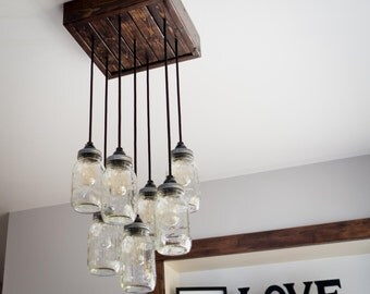 Mason Jar Chandelier **includes Edison bulbs!**