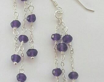 Natural Purple Amethyst Gemstone & Sterling Silver  Earrings