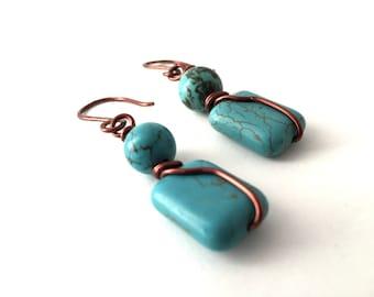 Turquoise Stone Dangle Earrings, HANDMADE, Copper Wire Wrapped Turquoise Bead Earrings, Handcrafted Earrings, Copper Jewelry, Dangles