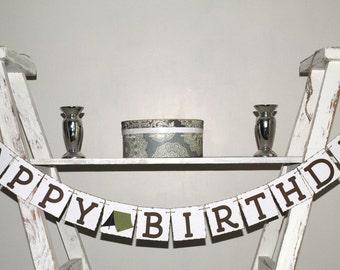 Happy Birthday - Camping Theme Birthday Banner - Boy's Birthday - Rustic