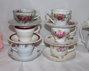 Mix match vintage floral teacup