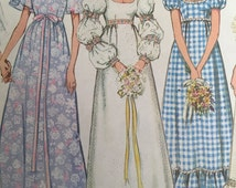 Vintage 70s Boho Hippie Wedding Dress - Simplicity 9825 Gown Pattern - 1970s Long Sleeve Gown Pattern - 70s Bridesmaid Dress Size 14